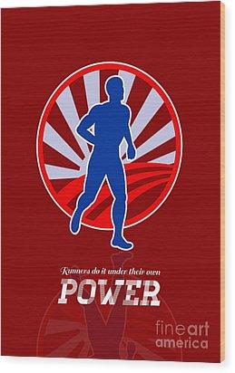 Runner Running Power Retro Poster Wood Print by Aloysius Patrimonio