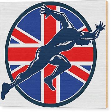 Runner Sprinter Start British Flag Circle Wood Print by Aloysius Patrimonio