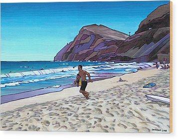 Running At Makapuu Wood Print by Douglas Simonson