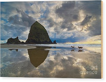 Running Free - Dogs Running In Beautiful Cannon Beach. Wood Print by Jamie Pham