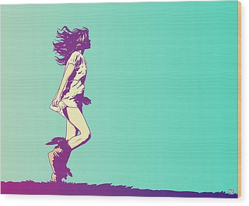 Running Free Wood Print by Giuseppe Cristiano