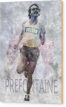 Running Legend Steve Prefontaine Wood Print by Daniel Hagerman