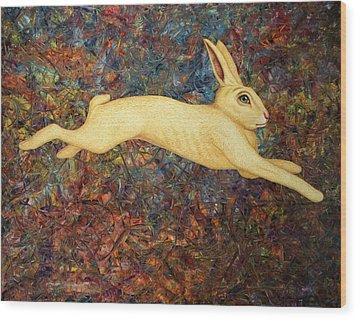 Running Rabbit Wood Print by James W Johnson