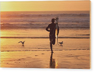 Wood Print featuring the photograph Running To Surf by Nathan Rupert