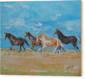 Wood Print featuring the painting Running Wild by Judy Kay