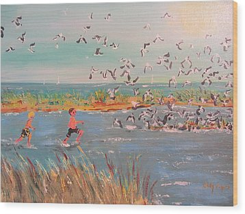 Running With The Gulls Wood Print