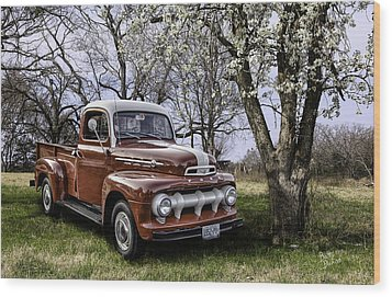 Rural 1952 Ford Pickup Wood Print