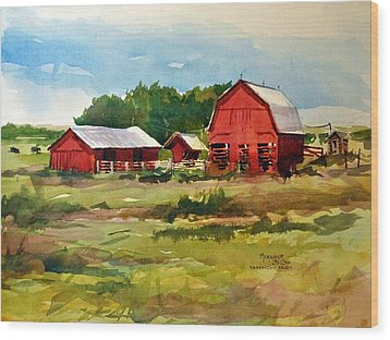 Rural Barns Wood Print by Spencer Meagher