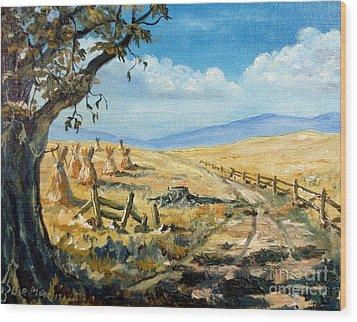 Rural Farmland Americana Folk Art Autumn Harvest Ranch Wood Print
