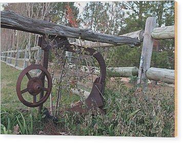 Rural Fence Post Wood Print by Lorri Crossno