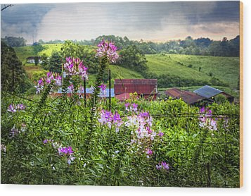 Rural Garden Wood Print by Debra and Dave Vanderlaan