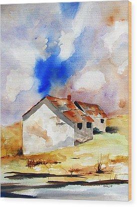 Rural Houses And Dramatic Sky Wood Print by Carlin Blahnik