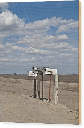Rural Mailboxes Wood Print by David Litschel