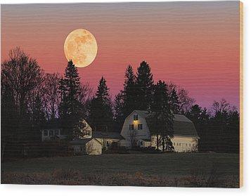 Rural Moonrise Wood Print