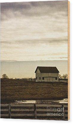 Rural Old Barn Behind Fence Wood Print by Birgit Tyrrell