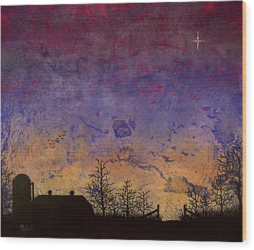 Rural Sunset Wood Print