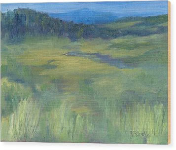 Rural Valley Landscape Colorful Original Painting Washington State Water Mountains K. Joann Russell Wood Print