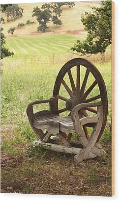 Rural Wagon Wheel Chair Wood Print by Art Block Collections