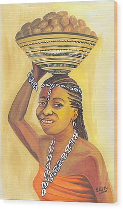 Wood Print featuring the painting Rural Woman From Cameroon by Emmanuel Baliyanga