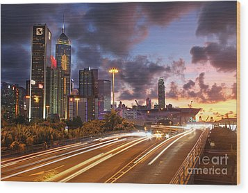 Rush Hour During Sunset In Hong Kong Wood Print by Lars Ruecker
