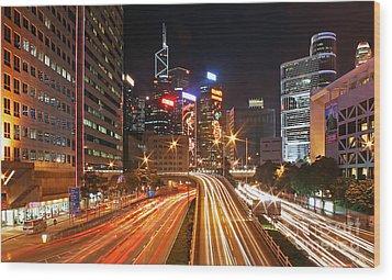 Rush Hour In Hong Kong Wood Print by Lars Ruecker
