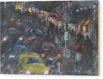 Rush Hour Rain  Wood Print by Leela Payne