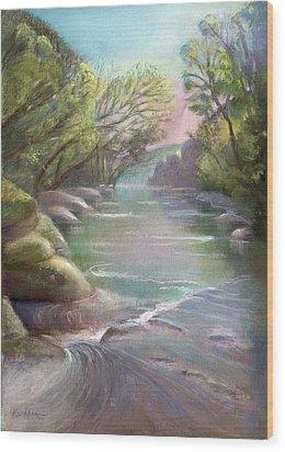 Rushing Creek Gatlinburg Tennessee Wood Print by Kathleen Bonadonna