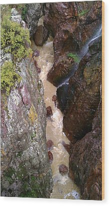 Wood Print featuring the photograph Rushing Crevasse by Fortunate Findings Shirley Dickerson