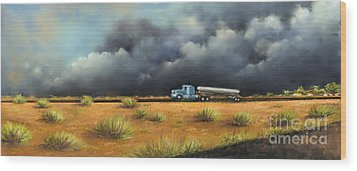 Wood Print featuring the painting Rushing Home by Sgn