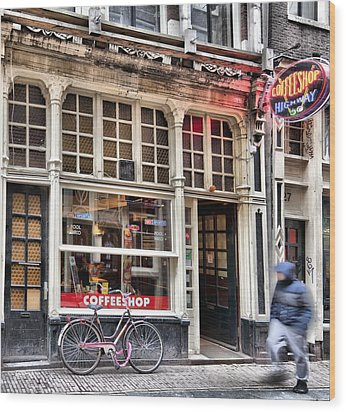 Rushing Past The Amsterdam Kafe Wood Print