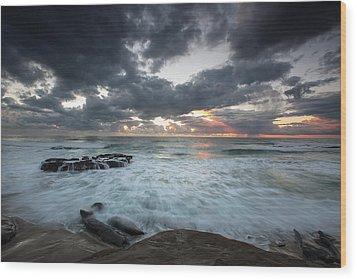 Rushing Seas Wood Print by Peter Tellone