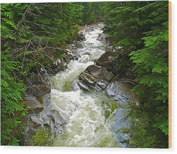 Rushing Stream Wood Print by Susan Crossman Buscho