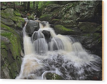 Rushing Water Wood Print by Mike Farslow