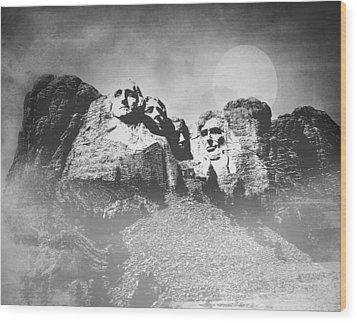 Rushmore At Night Wood Print by Roy  McPeak