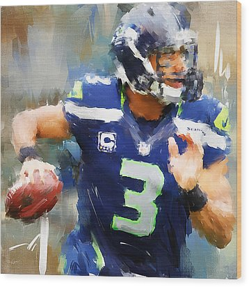 Russell Wilson Wood Print by Lourry Legarde