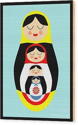 Russian Doll Matryoshka Wood Print by Patruschka Hetterschij