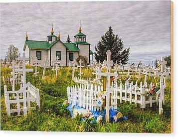Russian Orthodox Church In Ninilchik Alaska Wood Print by Natasha Bishop