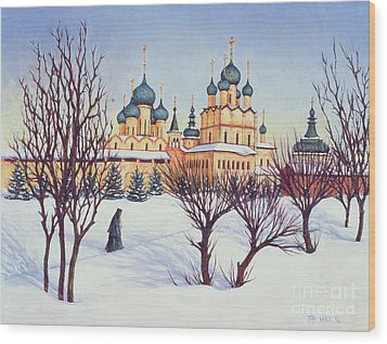 Russian Winter Wood Print by Tilly Willis