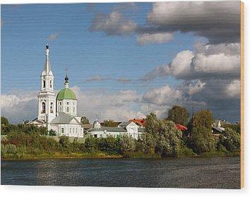 Russian_church_volga-river Wood Print by Elena Ouspenskaia