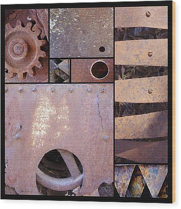 Rust And Metal Abstract  Wood Print by Ann Powell
