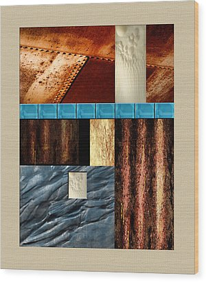Rust And Rocks Rectangles Wood Print by Elaine Plesser