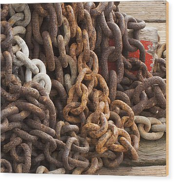 Wood Print featuring the photograph Rust Chains by Lora Lee Chapman