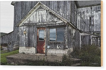 Rusted Farmhouse Door Wood Print by Michael Spano