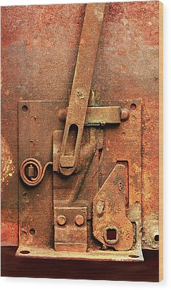 Rusted Latch Wood Print by Jim Hughes