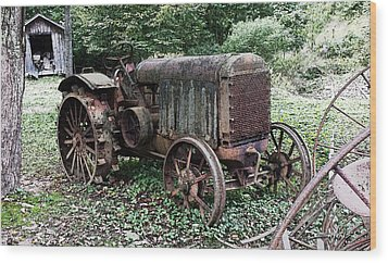 Rusted Mc Cormick-deering Tractor And Shed Wood Print by Michael Spano
