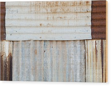Rusted Metal Background Wood Print by Tim Hester