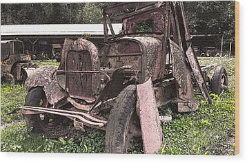 Rusted Pickup In Pieces Wood Print by Michael Spano