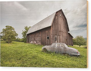 Rustic Art - Old Car And Barn Wood Print by Gary Heller