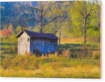 Rustic Autumn Landscape In North Georgia Wood Print by Mark E Tisdale