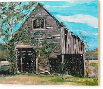 Wood Print featuring the painting Rustic Barn - Mooresburg - Tennessee by Jan Dappen